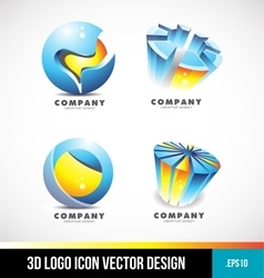Corporate business sphere pie chart 3d logo vector image