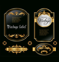 Gold framed black labels vector