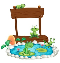 Wooden sign with frogs in the pond background vector