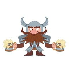 Dwarf with beer mugs vector image
