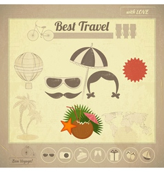 Summer travel card in vintage style vector