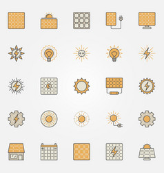Solar energy colorful icons vector