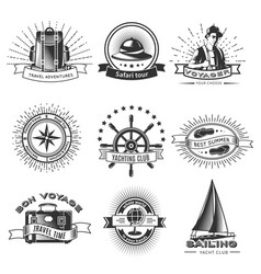 Vintage monochrome traveling labels set vector