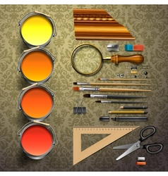 Group art supplies vector