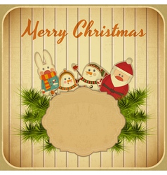 Christmas and New Years Postcard vector image