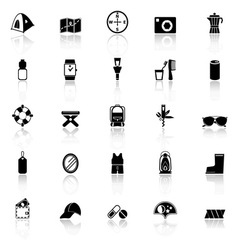 Camping necessary icons with reflect on white vector