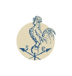 Rooster cockerel crowing weather vane etching vector
