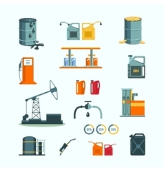 Oil and petrol industry objects vector