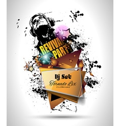 Disco night club flyer layout with dj shape vector