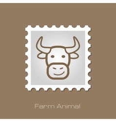 Bull stamp animal head vector