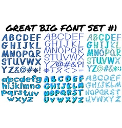 Different kind of font characters vector