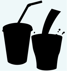 Closed cup with a straw and a splash of cola vector