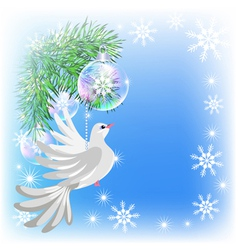 Christmas card with pigeon vector