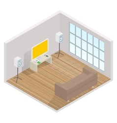 Isometric interior of the room with a tv vector
