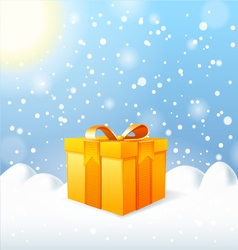 Christmas greeting card gift box vector
