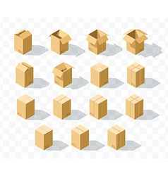 Set of 15 realistic isometric cardboard boxes with vector