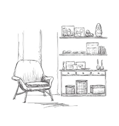 Room interior sketch chair and cupboard vector