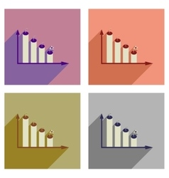 Concept of flat icons with long shadow graph vector