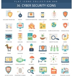 Cyber security flat icon set elegant style vector