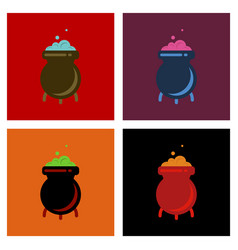 Assembly flat icons cauldron witches potion vector