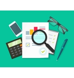 Auditor work desk accounting business research vector image