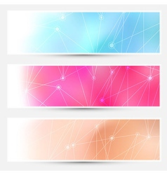 Bright molecule connection cards set vector image vector image