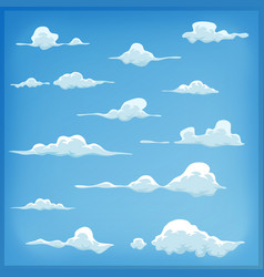 Cartoon clouds set on blue sky background vector