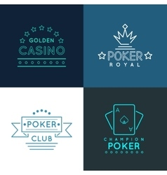 Casino and poker club labels emblems logos set in vector image