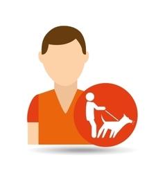 character pet training dog walk vector image