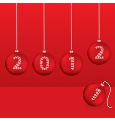 christmas greeting card with red balls vector image vector image