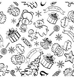 Christmas seamless pattern contour vector image