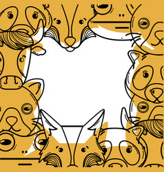 color cute heads of wilds animals background vector image vector image