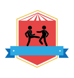 Color emblem with ribbon and men martial arts kick vector