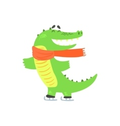 Crocodile ice skating humanized green reptile vector