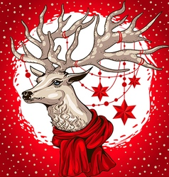 Deer head with antlers decorated christmas garland vector