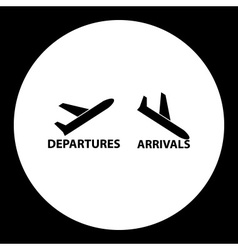 Departures and arrivals airport black simple icon vector