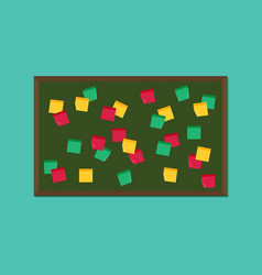 Flat blackboard with post it notes vector