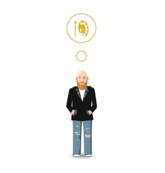 Flat character artist with profession icon vector image vector image