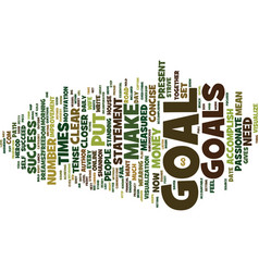 Gold from goals text background word cloud concept vector
