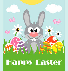 Happy easter background card with funny rabbit vector
