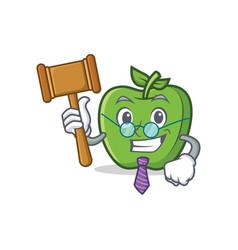Judge green apple character cartoon vector