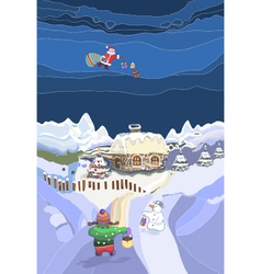 Landscape With Santa Claus vector image vector image