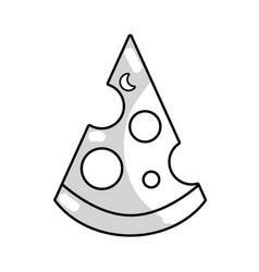 Line delicious slice pizza unhealthy fast food vector