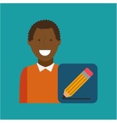 Man afroamerican using laptop write icon vector