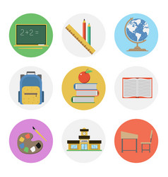 Nine color flat icon set - school vector