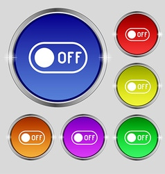 Off icon sign round symbol on bright colourful vector