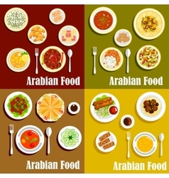 Popular wholesome dishes of arabian cuisine icons vector image