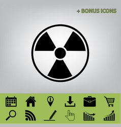 Radiation round sign black icon at gray vector