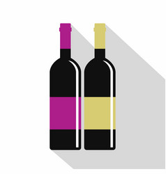 Red and white wine bottles icon flat style vector