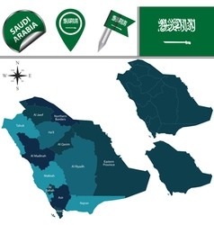 Saudi Arabia map with named divisions vector image vector image